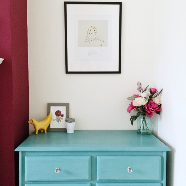 Vintage rustic style sideboard painted with Annie Sloan Provence chalk paint. Pinafores and Peonies.