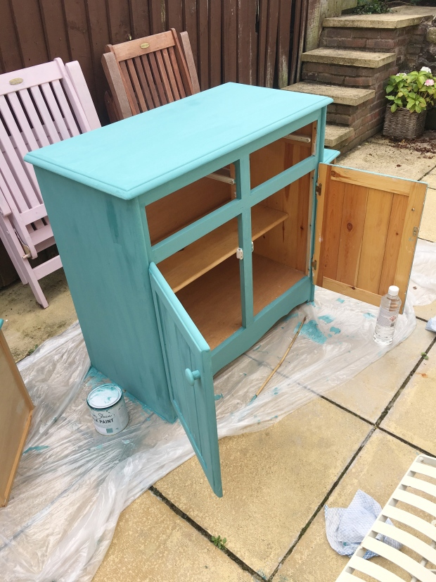 Sideboard after one coat of Annie Sloan Provence Chalk Paint. Pinafores and Peonies