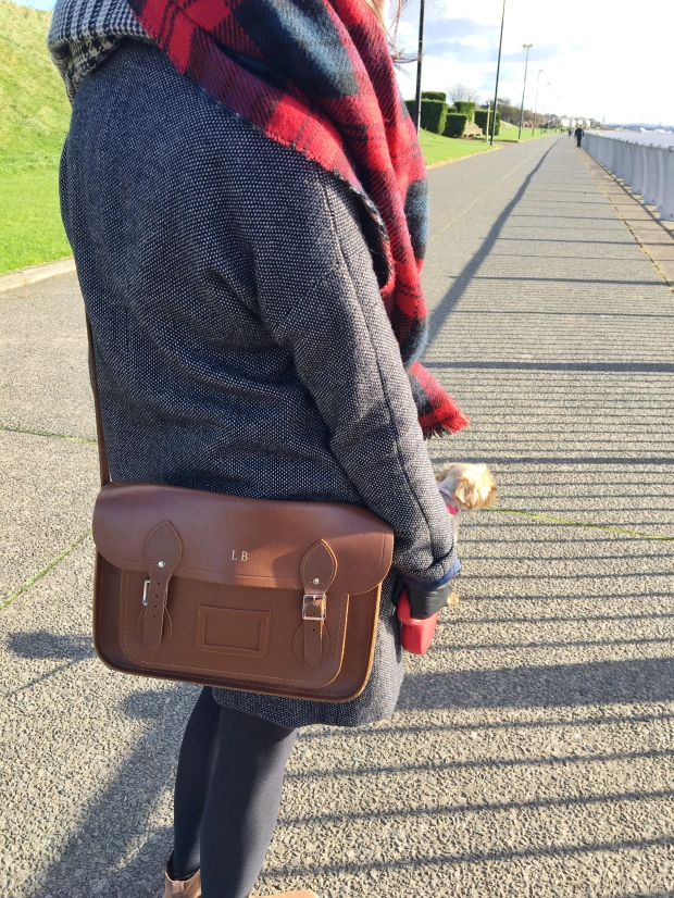 Tan leather Cambridge Satchel, with Cath Kidston coat and Zara scarf. Pinafores and Peonies blog