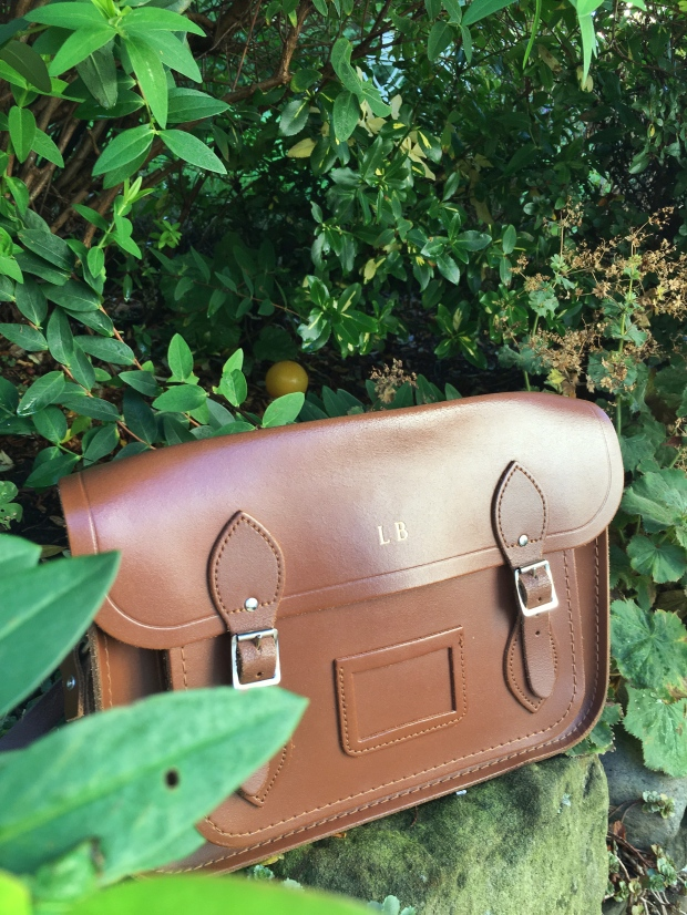 Tan leather Cambridge Satchel. Pinafores and Peonies blog.