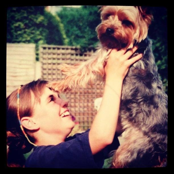 Me with my Yorkshire Terrier Tess as a child. Pinafores and Peonies Blog