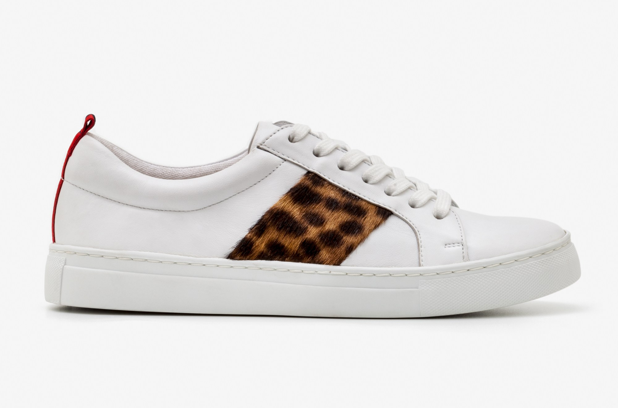 Boden white trainers with leopard print sides