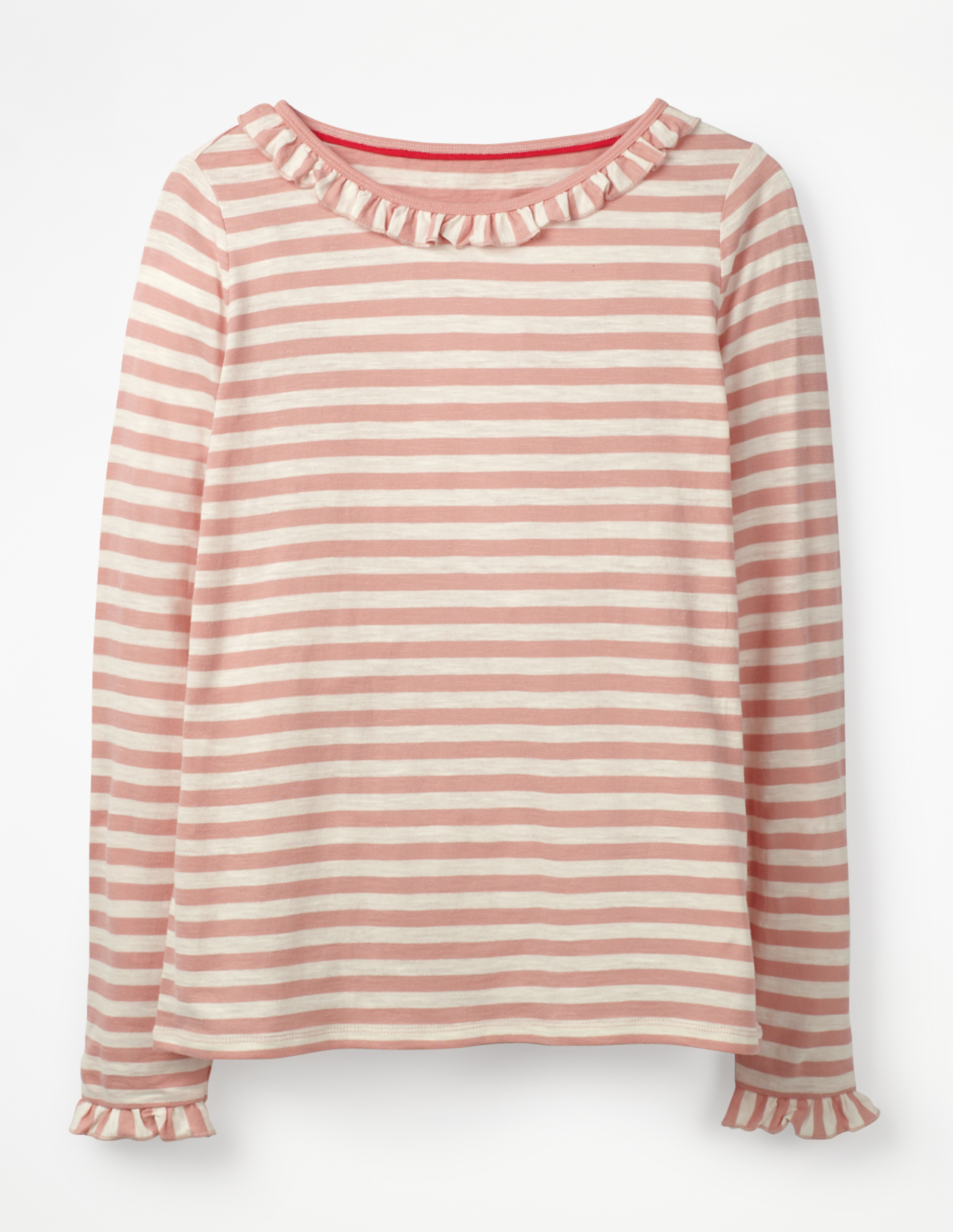 Boden dusky pink stripe top with frill collar and cuffs
