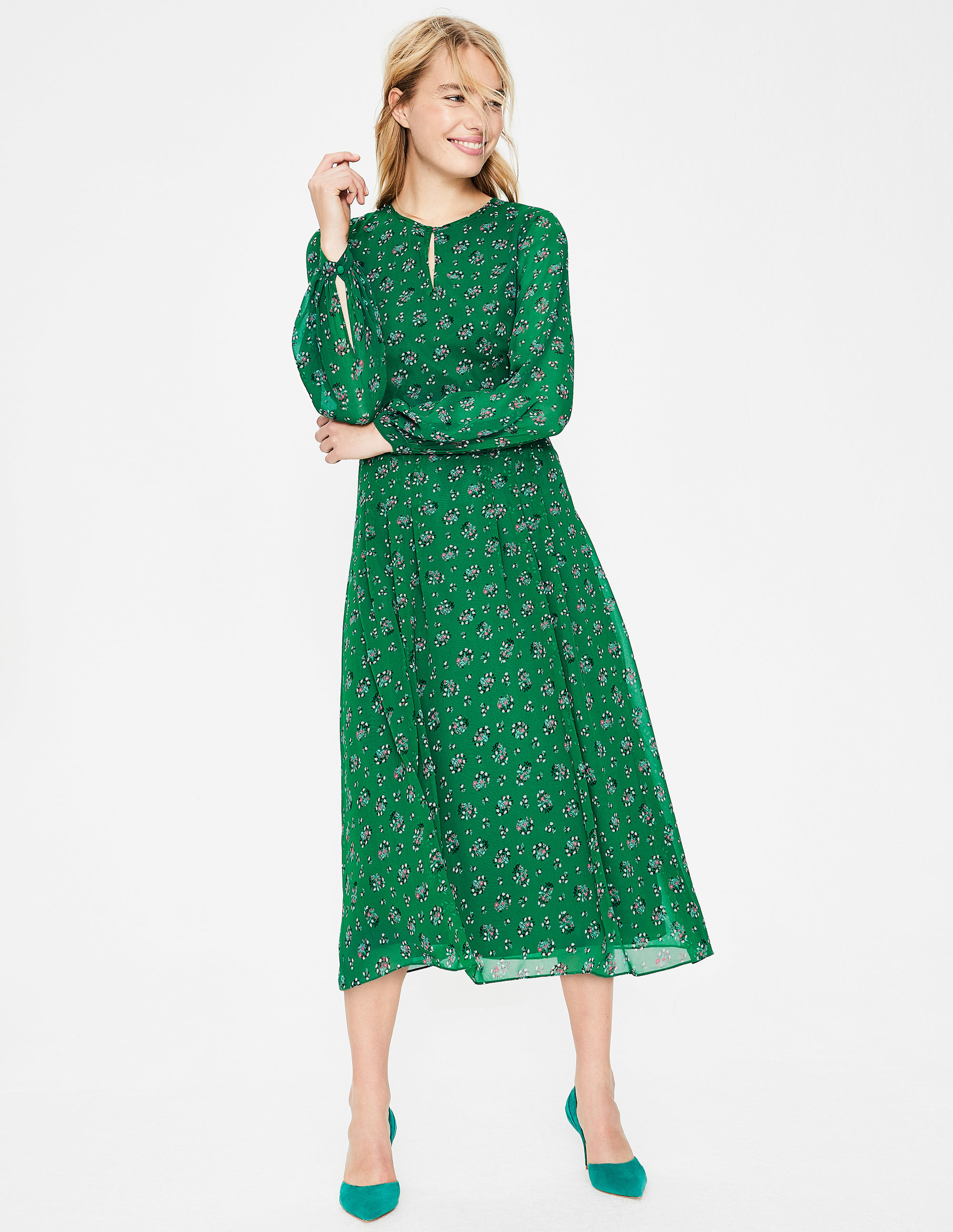 Boden Ada green midi dress