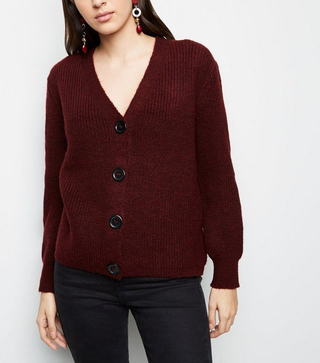 New Look burgundy rib cardigan