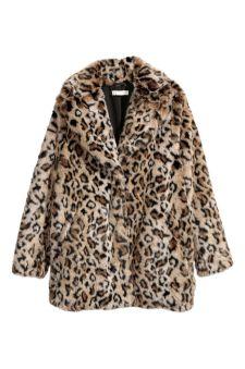 H&M Faux Fur leopard coat