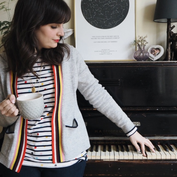 Boden spot/stripe Breton, Effie cardigan and longline necklace. Sat on piano with cup of tea
